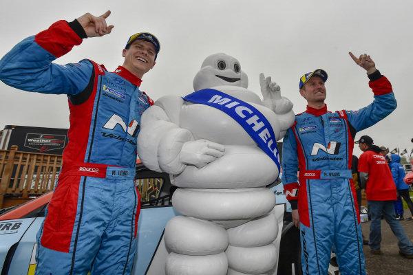 #98 Byan Herta Autosport W Curb-Agajanian Hyundai Veloster N TCR, TCR: Mark Wilkins, Michael Lewis celebrate the win in victory lane with Bib