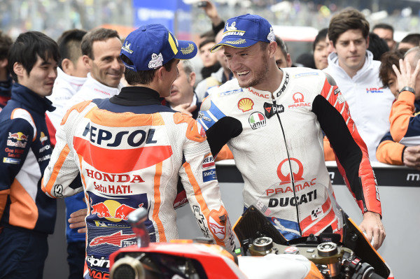 Race winner Marc Marquez, Repsol Honda Team, Jack Miller, Pramac Racing.
