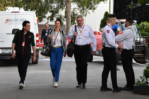 Ross Brawn, Managing Director of Motorsports, FOM, arrives in the paddock