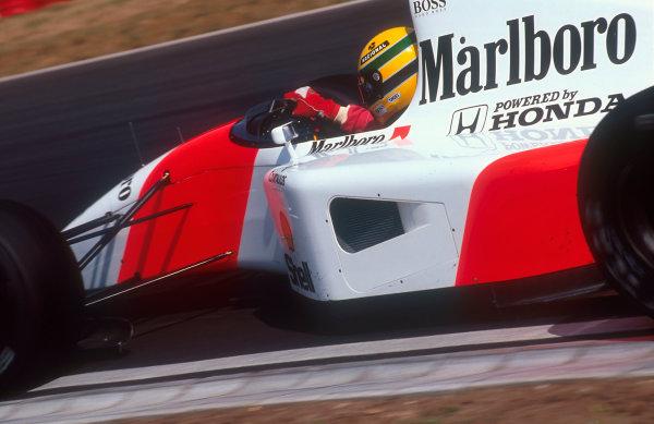 1992 Brazilian Grand Prix.Interlagos, Sao Paulo, Brazil.3-5 April 1992.Ayrton Senna (McLaren MP4/7A Honda). He exited the race with an electrical problem.Ref-92 BRA 05.World Copyright - LAT Photographic