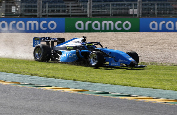 Giancarlo Fisichella (ITA) Borland Racing Developments gpes off the track and over the grass