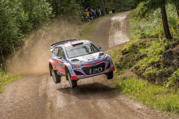 Dani Sordo (ESP) / Marc Marti (ESP) Hyundai i20 WRC at FIA World Rally Championship, R8, Neste Oil Rally Finland, Day Two, Jyvaskyla, Finland, Saturday 1 August 2015.