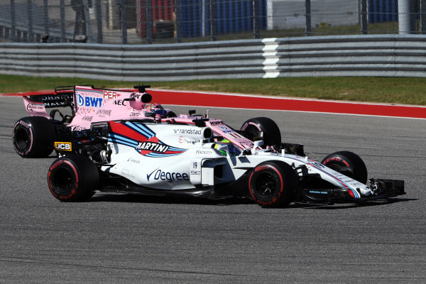 Felipe Massa (BRA) Williams FW40 and Sergio Perez (MEX) Force India VJM10 battle at Formula One World Championship, Rd17, United States Grand Prix, Race, Circuit of the Americas, Austin, Texas, USA, Sunday 22 October 2017.