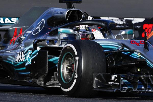Lewis Hamilton, Mercedes AMG F1 W09 EQ Power+, waves to fans