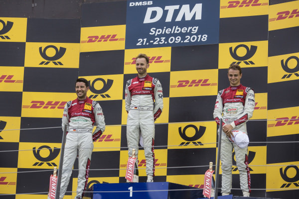 Podium: Race winner René Rast, Audi Sport Team Rosberg, second place Mike Rockenfeller, Audi Sport Team Phoenix and third place Nico Müller, Audi Sport Team Abt Sportsline.