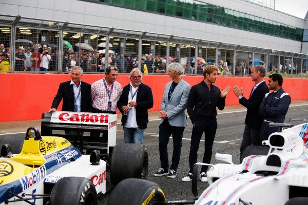 Williams 40 Event Silverstone, Northants, UK Friday 2 June 2017. L-R: Riccardo Patrese, Nigel Mansell, Keke Rosberg, Damon Hill, Nico Rosberg, David Coulthard and Karun Chandhok. World Copyright: Joe Portlock/LAT Images ref: Digital Image _L5R0364