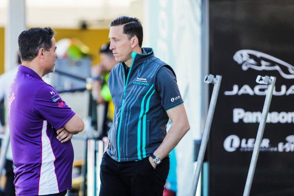2016/2017 FIA Formula E Championship. Round 8 - Berlin ePrix, Tempelhof Airport, Berlin, Germany. Sunday 11 June 2017. Alex Tai (Virgin Racing) and James Barclay (Jaguar Racing). Photo: Zak Mauger/LAT/Formula E ref: Digital Image _54I7835