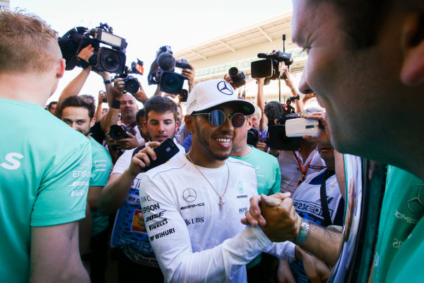 Circuit de Catalunya, Barcelona, Spain. Sunday 14 May 2017. Lewis Hamilton, Mercedes AMG, 1st Position, celebrates victory with his team. World Copyright: Charles Coates/LAT Images ref: Digital Image DJ5R2059