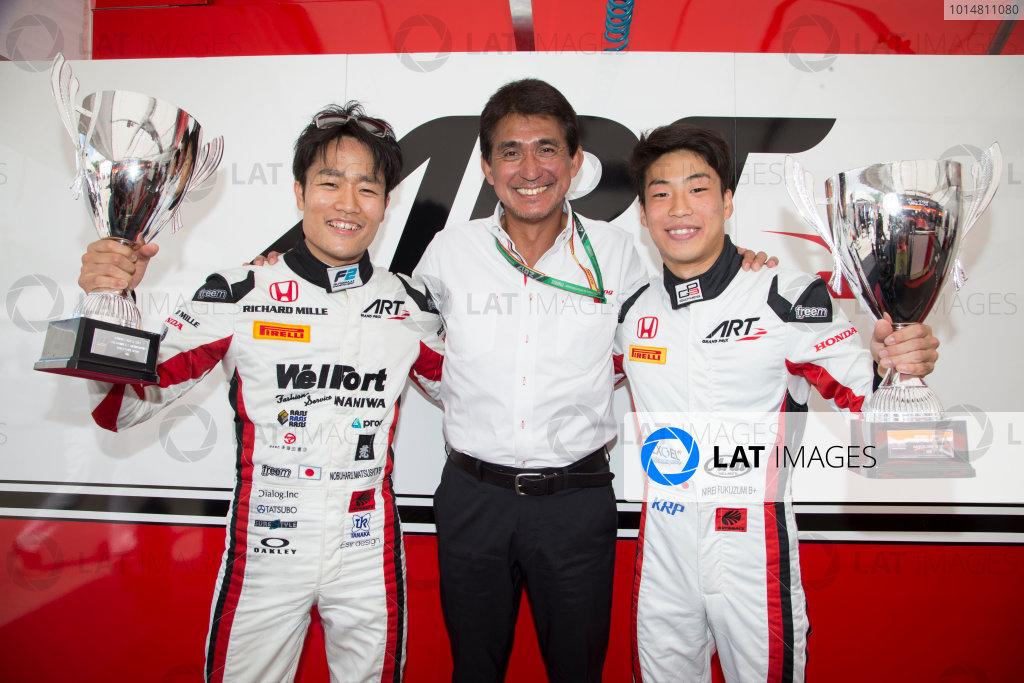2017 FIA Formula 2 Round 2. Circuit de Catalunya, Barcelona, Spain. Sunday 14 May 2017. ART Grand Prix race winners, F2 Race two winner Nobuharu Matsushita (JPN, ART Grand Prix) and GP3 Race one winner Nirei Fukuzumi (JPN, ART Grand Prix) and Aguri Suzuki Photo: Jed Leicester/FIA Formula 2. ref: Digital Image JL1_0442