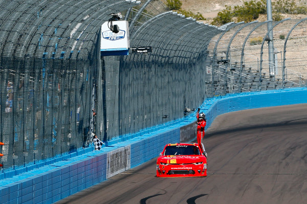 2017 NASCAR Xfinity Series DC Solar 200 Phoenix International Raceway, Avondale, AZ USA Saturday 18 March 2017 Justin Allgaier celebrates his win World Copyright: Russell LaBounty/LAT Images ref: Digital Image 17PHX1rl_3190