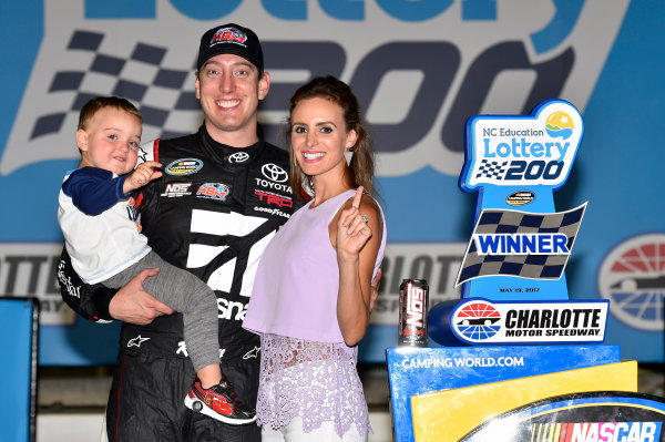 NASCAR Camping World Truck Series North Carolina Education Lottery 200 Charlotte Motor Speedway, Concord, NC USA Friday 19 May 2017 Kyle Busch, Cessna Toyota Tundra celebrates his win in Victory Lane World Copyright: Nigel Kinrade LAT Images ref: Digital Image 17CLT1nk04948