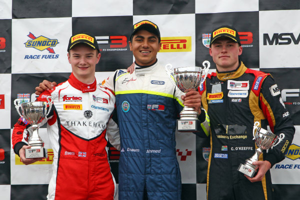 2017 BRDC Formula Three Championship, Oulton Park, 15th-17th April, 2017, Podium,Sowery,  O'Keefe and Ahmed World copyright. JEP/LAT Images