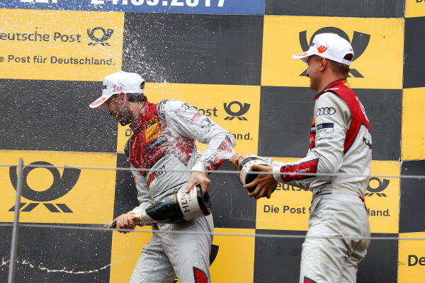 2017 DTM Round 8  Red Bull Ring, Spielberg, Austria  Sunday 24 September 2017. Podium: Race winner René Rast, Audi Sport Team Rosberg, Audi RS 5 DTM, third place Nico M?ller, Audi Sport Team Abt Sportsline, Audi RS 5 DTM  World Copyright: Alexander Trienitz/LAT Images ref: Digital Image 2017-DTM-RBR-AT3-2781