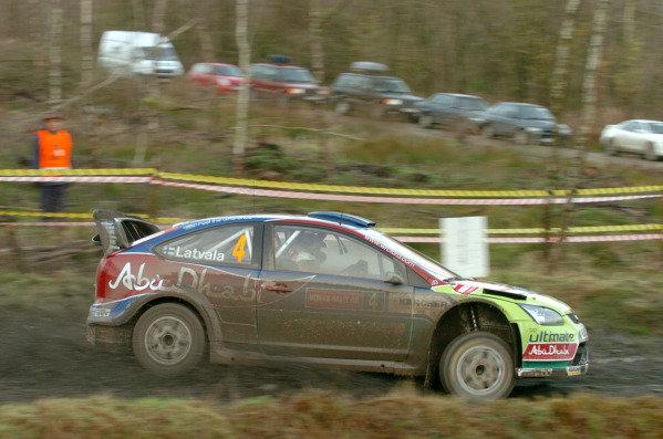 Jari-Matti Latvala (FIN) Ford Focus WRC on the shakedown stage. World Rally Championship, Rd15, Rally GB, Cardiff, Wales, Shakedown, 4 December 2008.