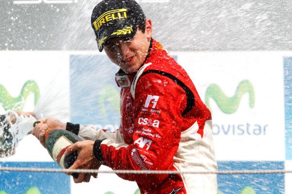Circuit de Catalunya, Spain. 9th May 2010. Sunday Race. Alexander Rossi (USA, ART Grand Prix) celebrates victory on the podium.Portrait. Photo: Andrew Ferraro/GP3 Media Service. Digital Image _Q0C2807