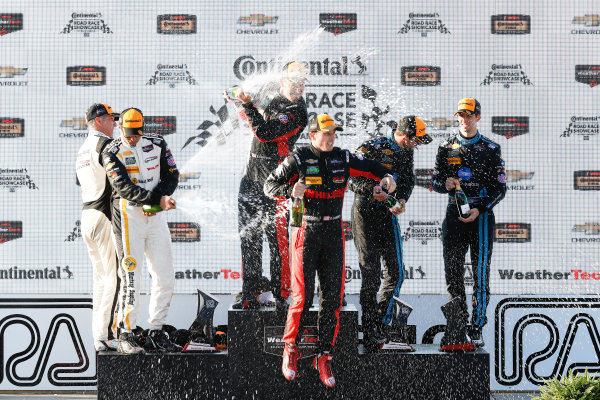 5-7 August, 2016, Elkhart Lake, Wisconsin USA , 5, Chevrolet, Corvette DP, P, Joao Barbosa, Christian Fittipaldi, 31, Chevrolet, Corvette DP, P, Eric Curran, Dane Cameron, 10, Chevrolet, Corvette DP, P, Ricky Taylor, Jordan Taylor, podium, champagne ?2016, Michael L. Levitt LAT Photo USA