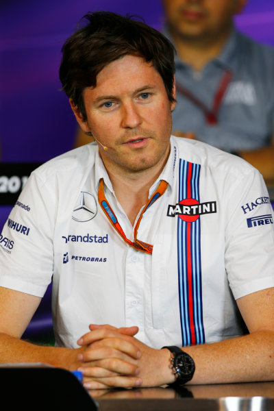 Red Bull Ring, Spielberg, Austria. Friday 01 July 2016. Rob Smedley, Head of Vehicle Performance, Williams Martini Racing, in the team principals Press Conference. World Copyright: Andy Hone/LAT Photographic ref: Digital Image _ONZ5156