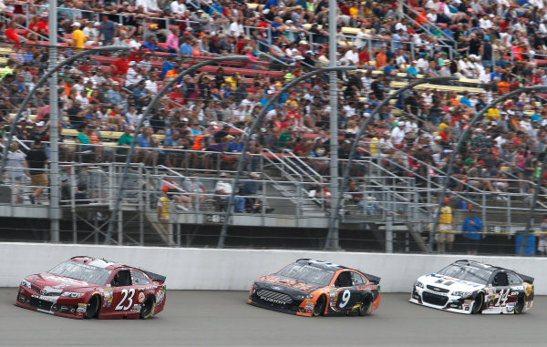 15-17 August, 2014, Brooklyn, Michigan USA Alex Bowman, Marcos Ambrose, Jeff Burton ?2014, Brett Moist LAT Photo USA