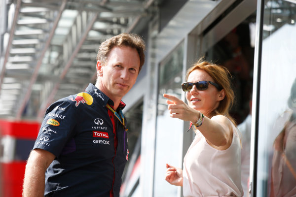 Hungaroring, Budapest, Hungary. Saturday 26 July 2014. Christian Horner, Team Principal, Red Bull Racing, with his girlfriend Geri Halliwell. World Copyright: Charles Coates/LAT Photographic. ref: Digital Image _J5R8092
