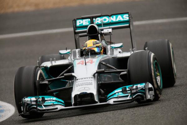 2014 F1 Pre Season Test 1 - Day 4 Circuito de Jerez, Jerez, Spain. Friday 31 January 2014. Lewis Hamilton, Mercedes W05. World Copyright: Andrew Ferraro/LAT Photographic. ref: Digital Image _79P7892.JPG