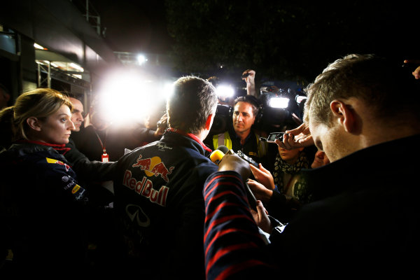 Albert Park, Melbourne, Australia. Sunday 16 March 2014. Christian Horner, Team Principal, Red Bull Racing, addresses the media regarding the disqualification of the car of Daniel Ricciardo, Red Bull Racing. World Copyright: Charles Coates/LAT Photographic. ref: Digital Image _J5R6568