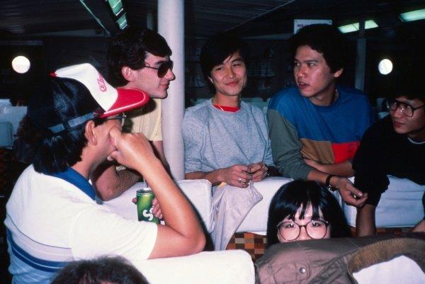 Ayrton Senna (BRA) Theodore Racing on the Hong Kong Ferry. International Formula Three, Macau Grand Prix, Macau, 20 November 1983.