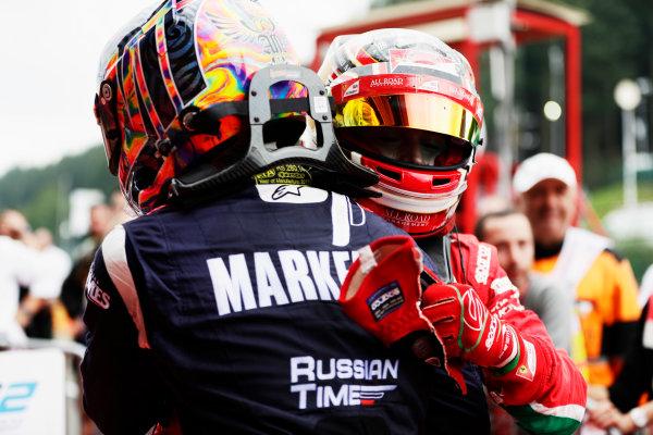 Spa Francorchamps, Belgium.  Saturday 26 August 2017 Charles Leclerc (MCO, PREMA Racing). Artem Markelov (RUS, RUSSIAN TIME).  Photo: Mauger/FIA Formula 2 ref: Digital Image _56I2458