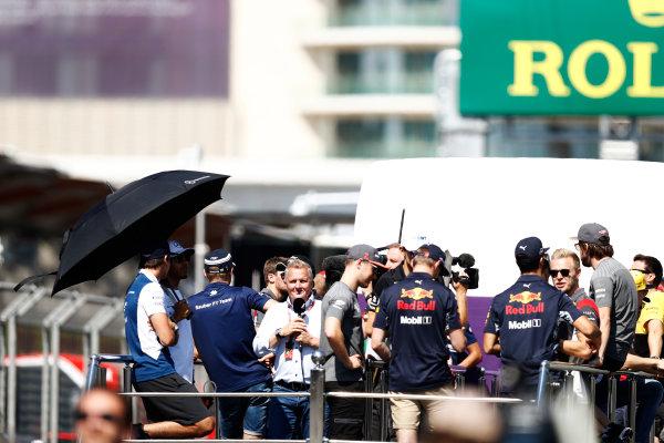 Baku City Circuit, Baku, Azerbaijan. Sunday 25 June 2017. The drivers parade, with Johnny Herbert, Sky Sports F1, in the mix. World Copyright: Glenn Dunbar/LAT Images ref: Digital Image _31I2104
