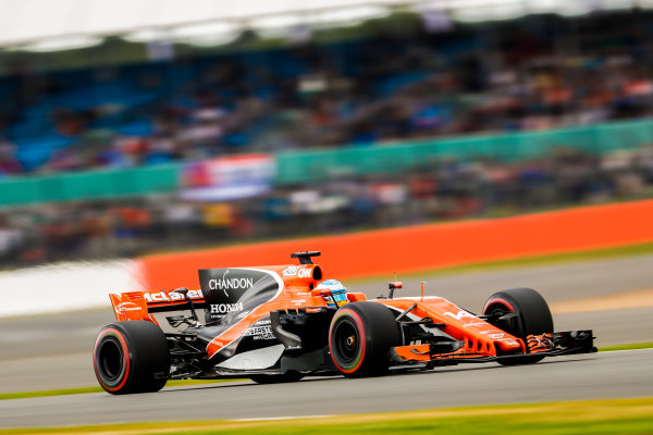 Silverstone, Northamptonshire, UK.  Friday 14 July 2017. Fernando Alonso, McLaren MCL32 Honda. World Copyright: Glenn Dunbar/LAT Images  ref: Digital Image _X4I3373