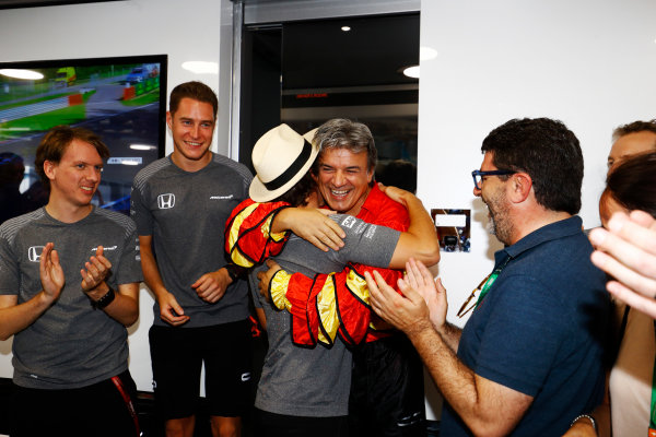 Hungaroring, Budapest, Hungary.  Saturday 29 July 2017. Fernando Alonso, McLaren, celebrates his birthday. World Copyright: Steven Tee/LAT Images  ref: Digital Image _R3I3557