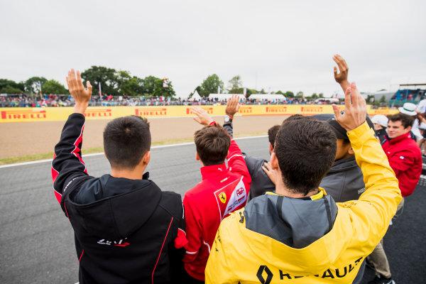 2017 FIA Formula 2 Round 6. Silverstone, Northamptonshire, UK. Saturday 15 July 2017. Alexander Albon (THA, ART Grand Prix), Charles Leclerc (MCO, PREMA Racing) and Nicholas Latifi (CAN, DAMS).  Photo: Zak Mauger/FIA Formula 2. ref: Digital Image _54I5191