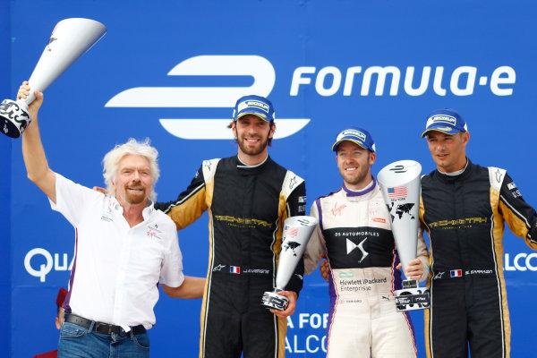 2016/2017 FIA Formula E Championship. Round 9 - New York City ePrix, Brooklyn, New York, USA. Saturday 15 July 2017. Sir Richard Branson, Jean-Eric Vergne (FRA), Techeetah, Spark-Renault, Renault Z.E 16, Sam Bird (GBR), DS Virgin Racing, Spark-Citroen, Virgin DSV-02, and Stephane Sarrazin (FRA), Techeetah, Spark-Renault, Renault Z.E 16, celebrate on the podium. Photo: Alastair Staley/LAT/Formula E ref: Digital Image _R3I0015