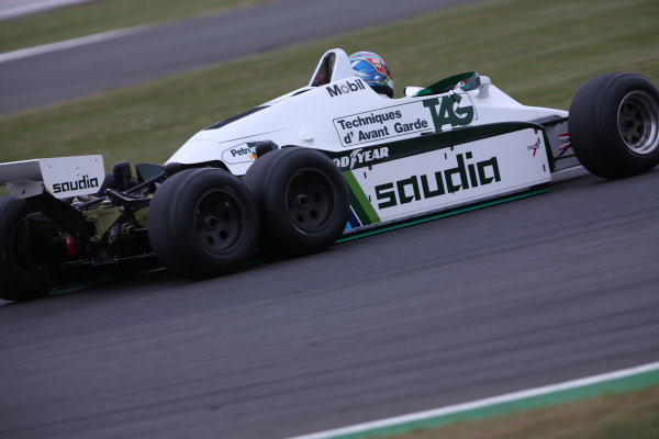 Silverstone, Northamptonshire, UK.  Saturday 15 July 2017. Paul di Resta drives a 1982 Williams FW08B Cosworth 6 wheeled F1 car in a parade as part of the Williams 40th Anniversary celebrations. World Copyright: Dom Romney/LAT Images  ref: Digital Image 11DXA7101