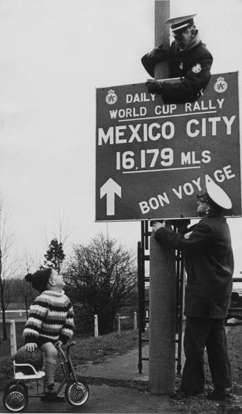 London to Mexico. 19th April - 27th May 1970.Sign post, atmosphere.World Copyright: LAT Photographic.Ref:  B/W Print.