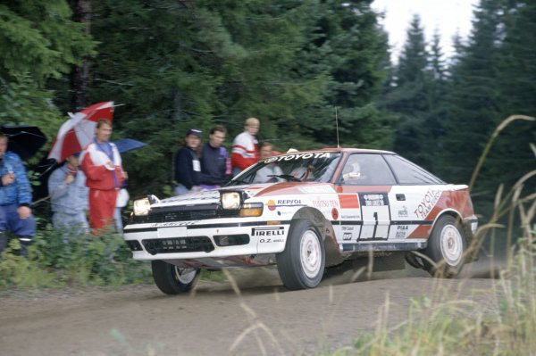 1990 World Rally Championship.1000 Lakes Rally, Finland. 23-26 August 1990.Mikael Ericsson/Claes Billstam (Toyota Celica GT-4), retired.World Copyright: LAT PhotographicRef: 35mm transparency 90RALLY07