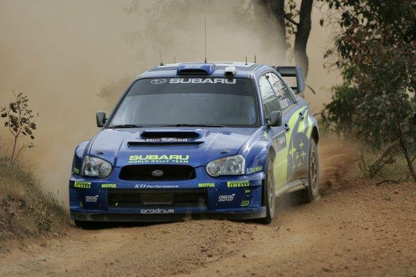 2005 FIA World Rally Champs. Round Sixteen, Rally Australia.10th - 13th November 2004.Chris Atkinson, Subaru, action.World Copyright: McKlein/LAT