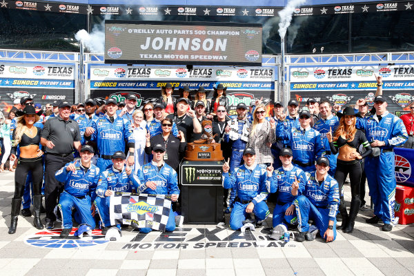 2017 Monster Energy NASCAR Cup Series O'Reilly Auto Parts 500 Texas Motor Speedway, Fort Worth, TX USA Sunday 9 April 2017 Jimmie Johnson celebrates in victory lane  World Copyright: Russell LaBounty/LAT Images ref: Digital Image 17TEX1rl_5277