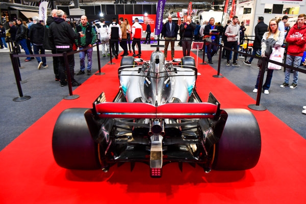 Autosport International Exhibition. National Exhibition Centre, Birmingham, UK. Thursday 11th January 2018. A Mercedes on the F1 Racing Stand.World Copyright: Mark Sutton/Sutton Images/LAT Images Ref: DSC_7603