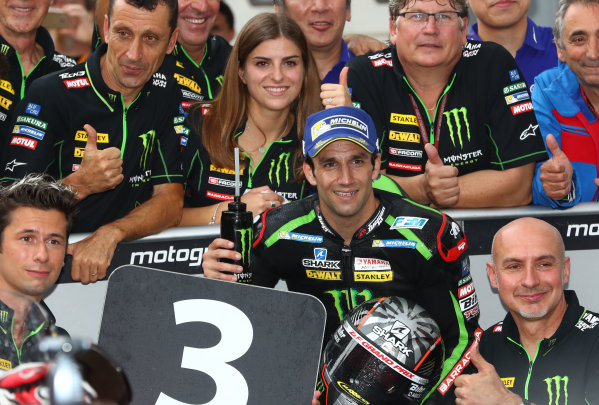 2017 MotoGP Championship - Round 17 Sepang, Malaysia. Sunday 29 October 2017 Third place Johann Zarco, Monster Yamaha Tech 3 World Copyright: Gold and Goose / LAT Images ref: Digital Image 26552