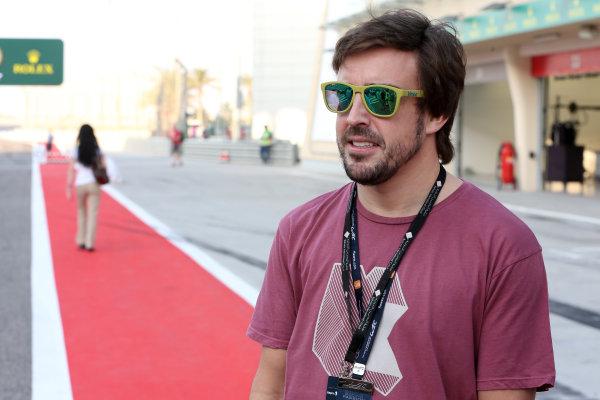 2017 FIA World Endurance Championship, Bahrain International Circuit, Bahrain. 16th-18th November 2017, Fernando Alonso (SPA) on the grid World Copyright. JEP/LAT Images