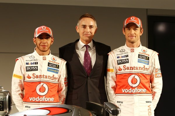 (L to R): Lewis Hamilton (GBR) McLaren with Martin Whitmarsh (GBR) McLaren Chief Executive Officer and Jenson Button (GBR) McLaren.