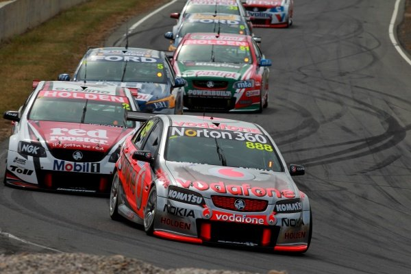 Craig Lowndes (Aust) Team Vodafone 888 Commodore won race 21 but had gear box issues in R22 and had a DNF  Races 21 and 22  V8 Supercars Falken Tasmania Challenge Symmons Plains Launceston  Tasmania, Aust
