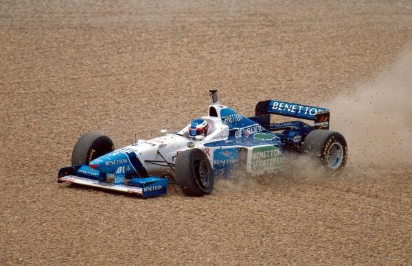 Jean Alesi(FRA) Benetton B196 goes off after colliding with Salo European Grand Prix, Nurburgring, 28th April 1996