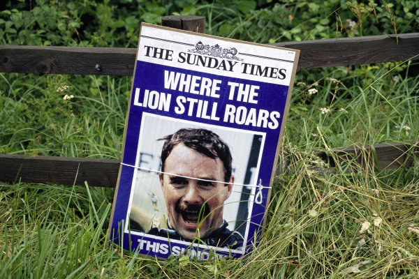 Nigel Mansell on the cover of a newspaper ahead of the race.