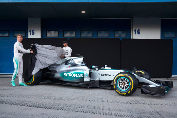 2015 F1 Pre Season Test 1 - Day 1 Circuito de Jerez, Jerez, Spain. Sunday 1 February 2015. Nico Rosberg, Mercedes AMG, and Lewis Hamilton, Mercedes AMG, launch the Mercedes W06. World Copyright: Steve Etherington/LAT Photographic. ref: Digital Image SNE26147