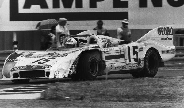 Le Mans, France. 14-15 June 1975.Reinhold Joest/Mario Casoni/Jurgen Barth (Porsche 908/03), 4th position, action. World Copyright: LAT PhotographicRef: Motor Used Pic 21st June 1975 Pg 73.