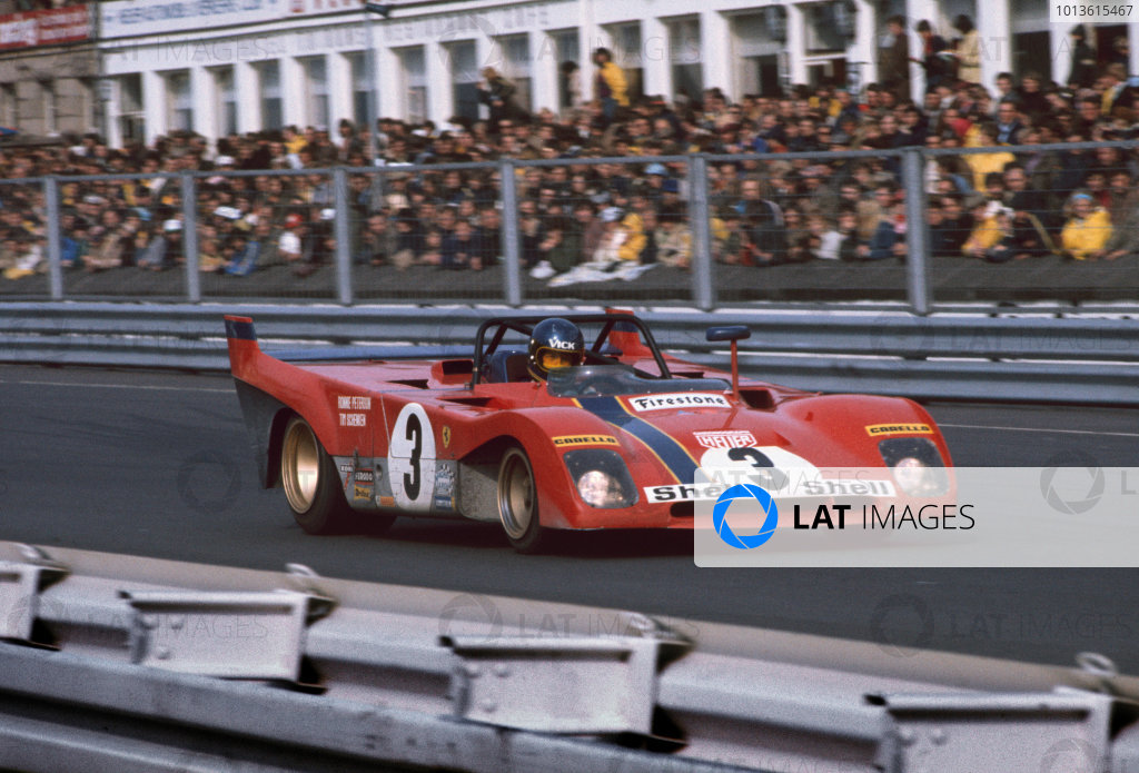 Nurburgring, Germany. 28th May 1972. Rd 8. Ronnie Peterson/Tim Schenken (Ferrari 312PB), 1st position, action. World Copyright: LAT Photographic. Ref: 72SCARS