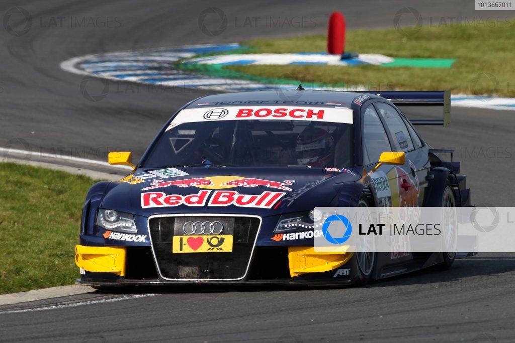 Pole position for Miguel Molina (ESP), Audi Sport Team Abt Junior, Red Bull Audi A4 DTM (2008), the first Spaniard to do so in DTM.DTM, Rd8, Oschersleben, Germany, 16-18 September 2011 Ref: Digital Image dne1117se525