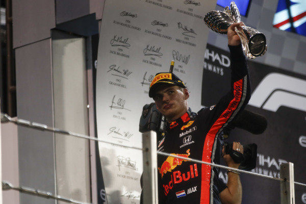 Max Verstappen, Red Bull Racing, 2nd position, leaves the podium with his trophy