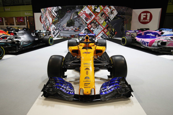 A McLaren MCL34 on the F1 Racing stand